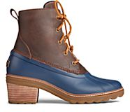Saltwater Heel Leather Duck Boot, Brown/Navy, dynamic