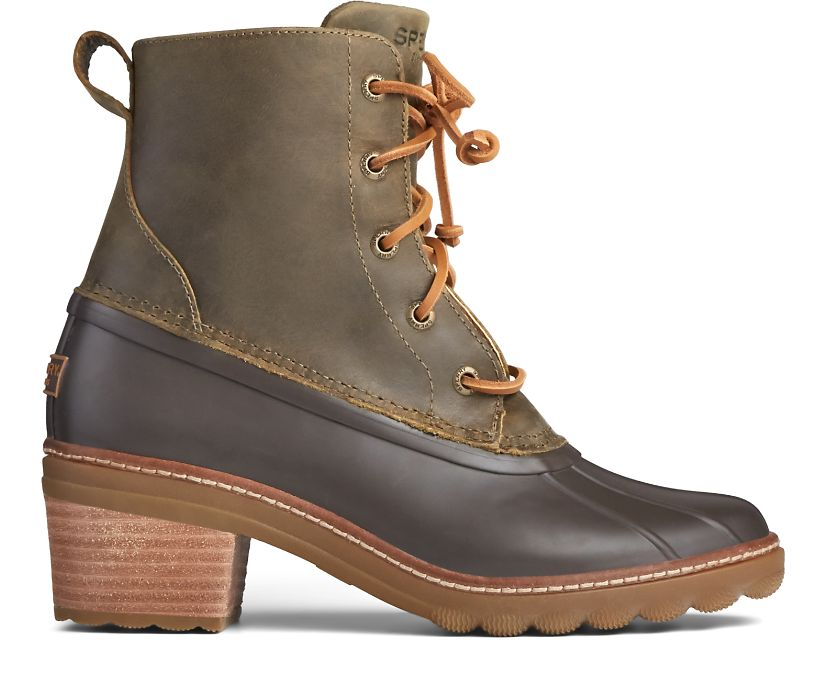 Saltwater Heel Leather Duck Boot, Olive, dynamic