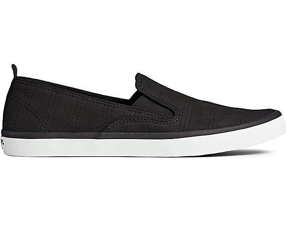 Sailor Twin Gore Perforated Slip On Sneaker, Black, dynamic