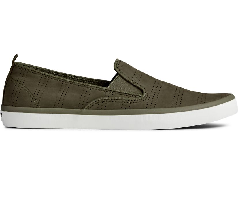 Sailor Twin Gore Perforated Slip On Sneaker, Olive, dynamic