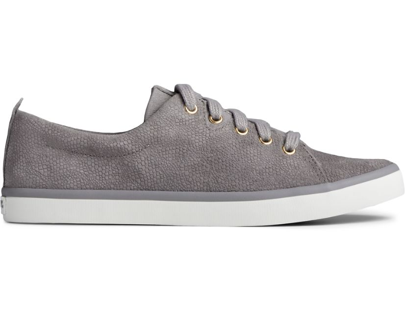 Sailor Lace To Toe Serpent Leather Sneaker, Grey, dynamic