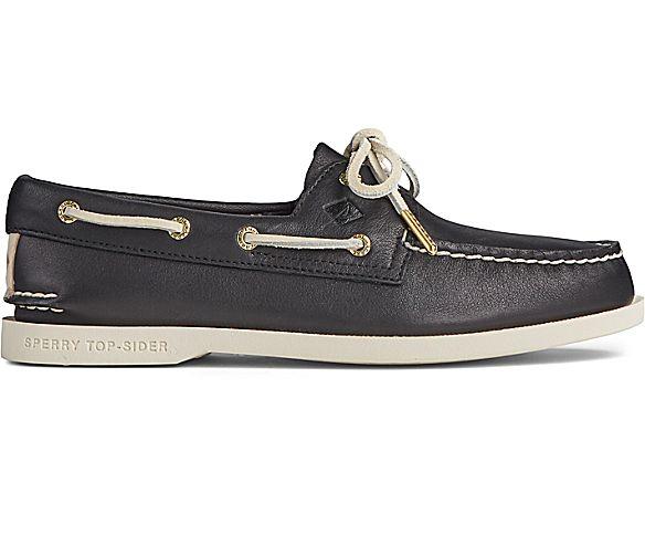 Authentic Original PLUSHWAVE Leather Boat Shoe, Black, dynamic