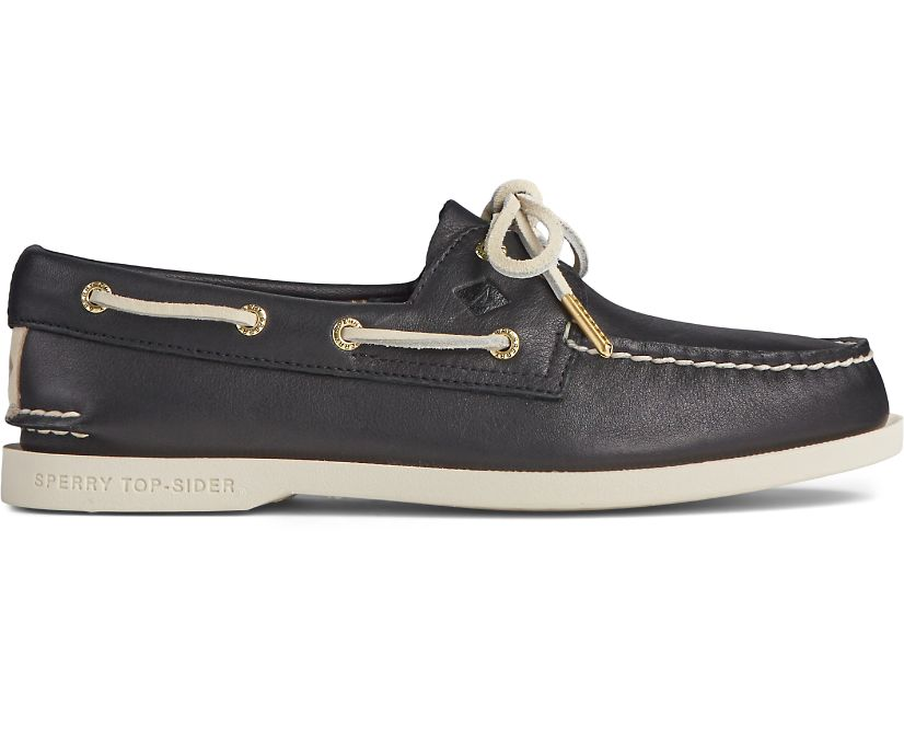 Authentic Original PLUSHWAVE Leather Boat Shoe, Black, dynamic