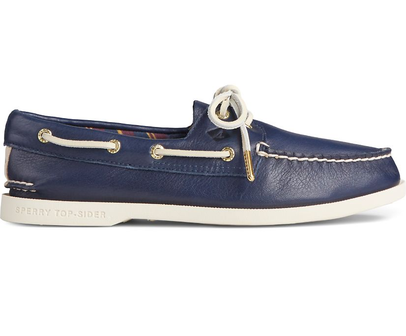 Authentic Original PLUSHWAVE Leather Boat Shoe, Navy, dynamic