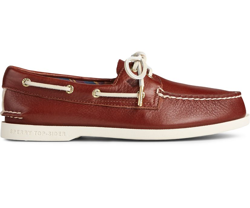 Authentic Original PLUSHWAVE Leather Boat Shoe, Tan, dynamic