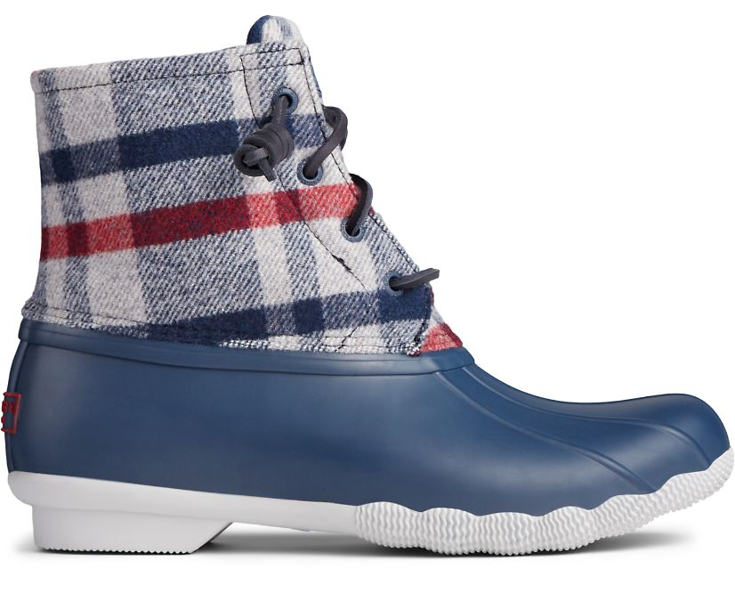 Saltwater Wool Plaid Duck Boot, Ivory/Navy, dynamic