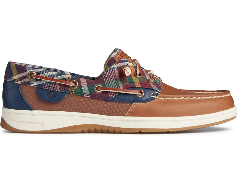 Rosefish Plaid Boat Shoe, Tan/Navy, dynamic