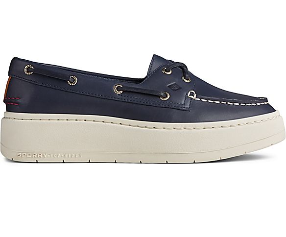 Authentic Original Platform Leather Boat Shoe, Navy, dynamic