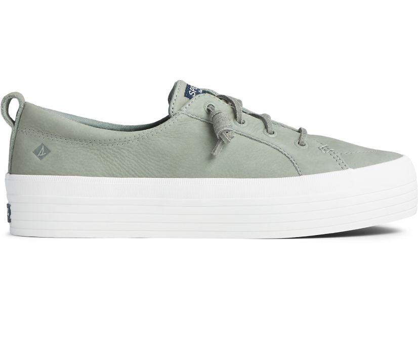 Crest Vibe Platform Leather Sneaker, Sage, dynamic