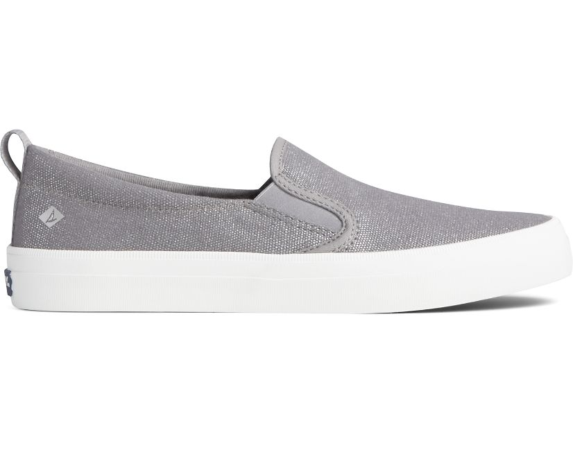 Crest Twin Gore Textile Sparkle Slip On Sneaker, Silver, dynamic