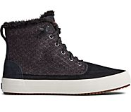 Crest Lug High Top Quilted Suede Boot, Black, dynamic