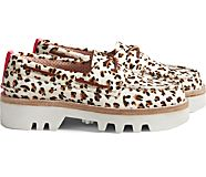 Cloud Authentic Original 2-Eye Lug Boat Shoe, Leopard Tan, dynamic