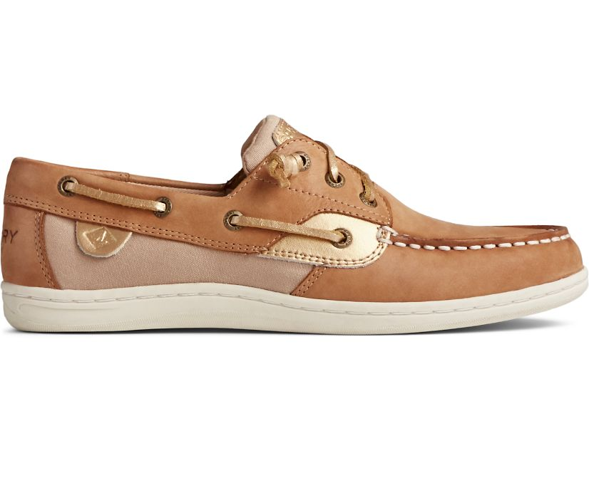 Songfish Starlight Leather Boat Shoe, Tan, dynamic