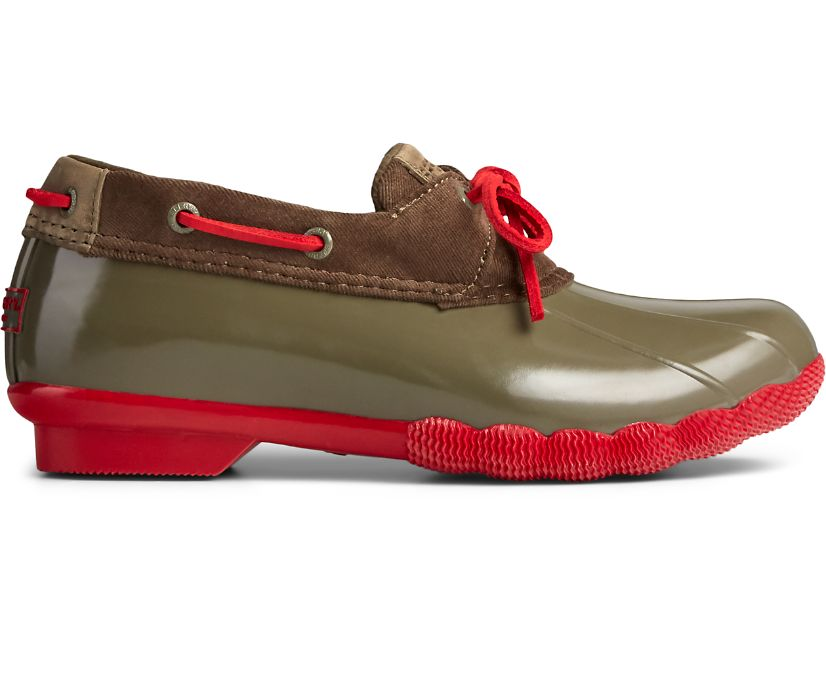 Saltwater 1-Eye Duck Boot, Green/Red, dynamic