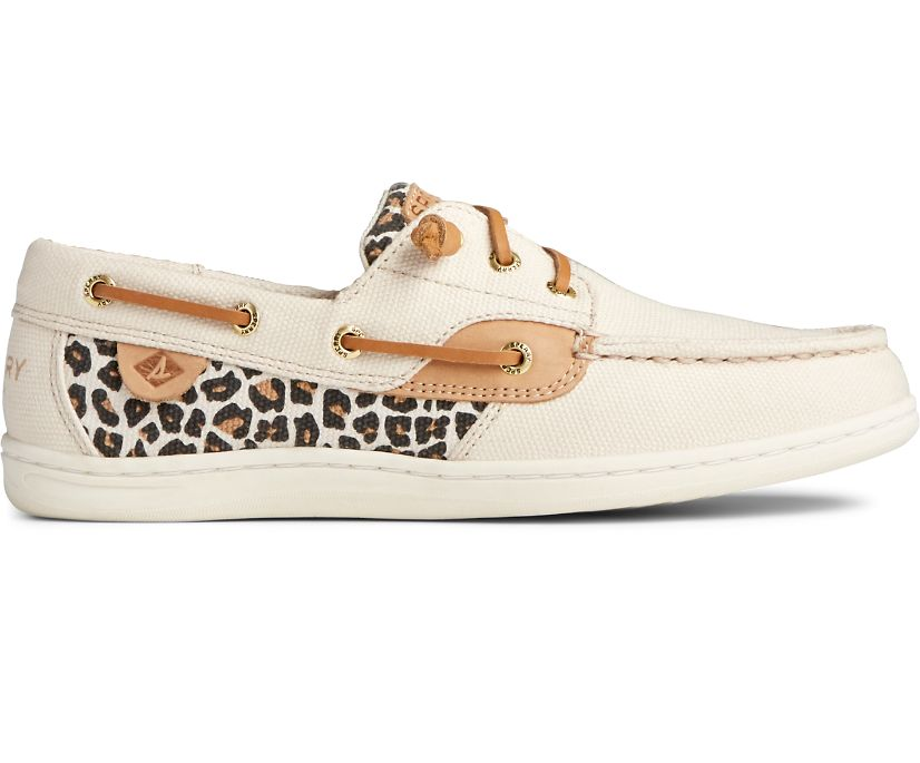 Songfish Animal Print Linen Boat Shoe, Multi, dynamic