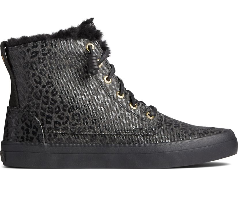 Crest High-Top Animal Print Sneaker, Black/Black, dynamic