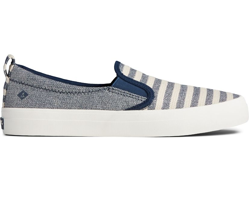 Crest Twin Gore Seasonal Stripe Slip On Sneaker, Oat/Blue, dynamic