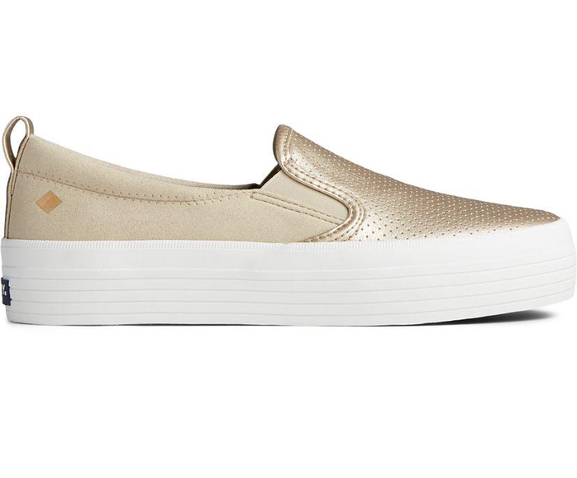 Crest Vibe Metallic Leather Platform Slip On Sneaker, Gold, dynamic