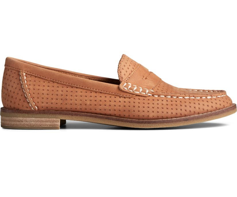 Seaport Penny Perforated Leather Loafer, Tan, dynamic