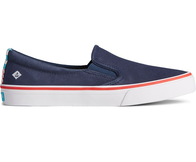 Crest Twin Gore Twisted Textile Slip On Sneaker, Navy, dynamic