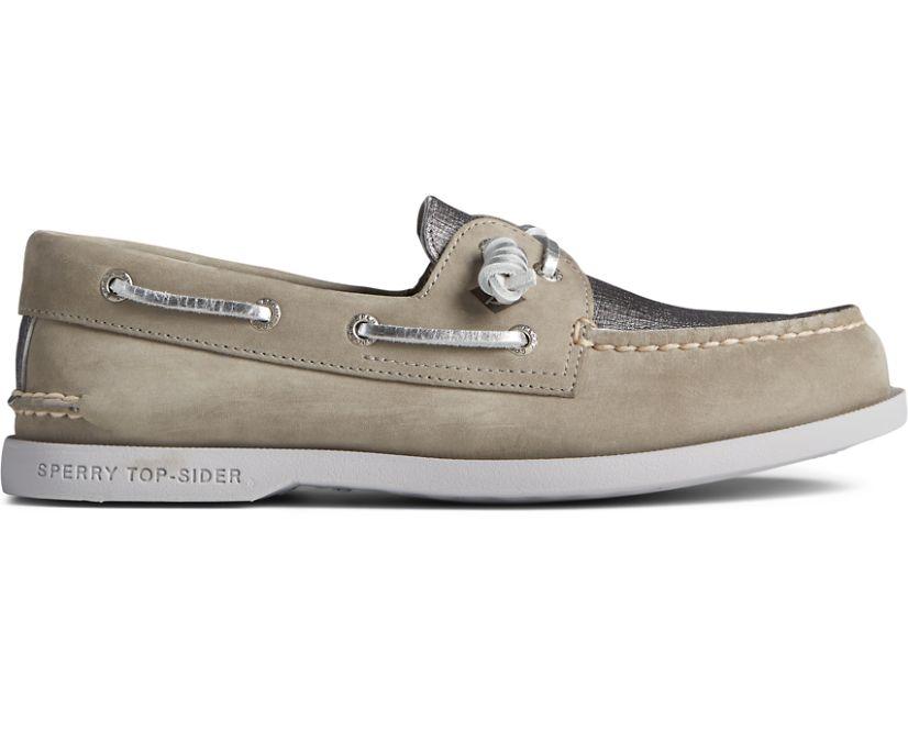 Authentic Original Vida PLUSHWAVE Metallic Boat Shoe, Silver, dynamic