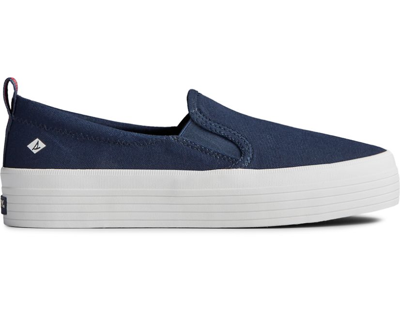 Crest Twin Gore Platform Slip On Sneaker, Navy, dynamic