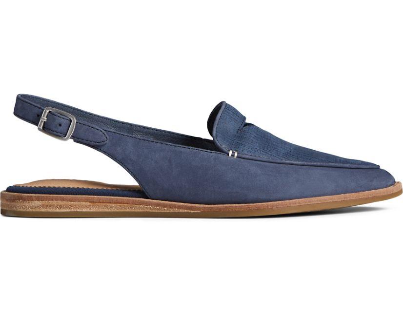Saybrook Leather Slingback, Navy, dynamic