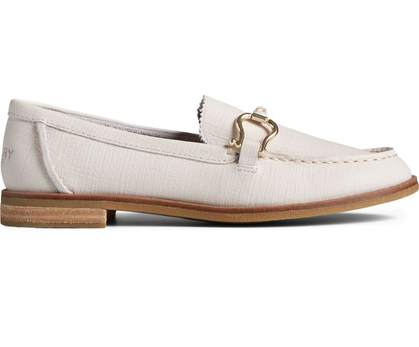 Seaport Penny PLUSHWAVE Shackle Leather Loafer, White, dynamic