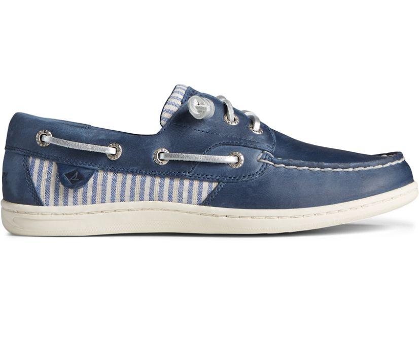 Songfish Metallic Stripe Boat Shoe, Navy, dynamic