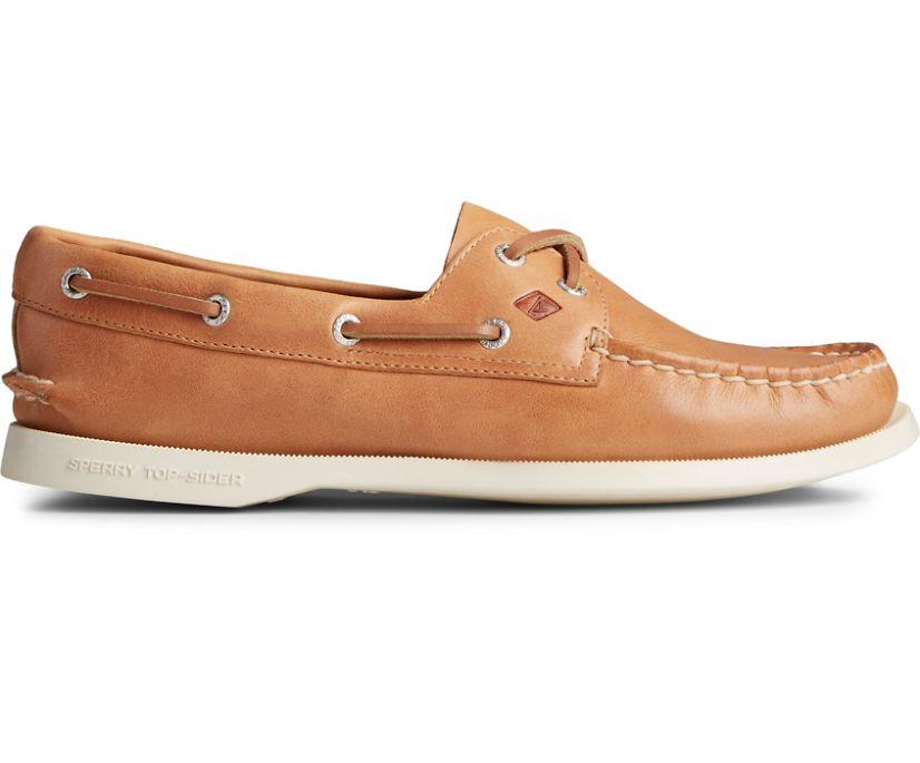 Authentic Original 2-Eye Splash Leather Boat Shoe, Tan, dynamic
