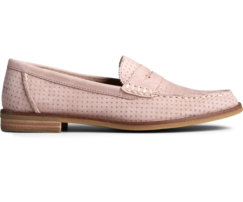 Seaport Penny Perforated Leather Loafer, Bark, dynamic