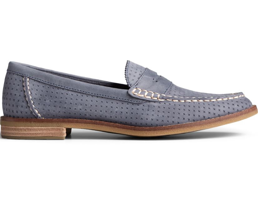 Seaport Penny Perforated Leather Loafer, Folkstone, dynamic