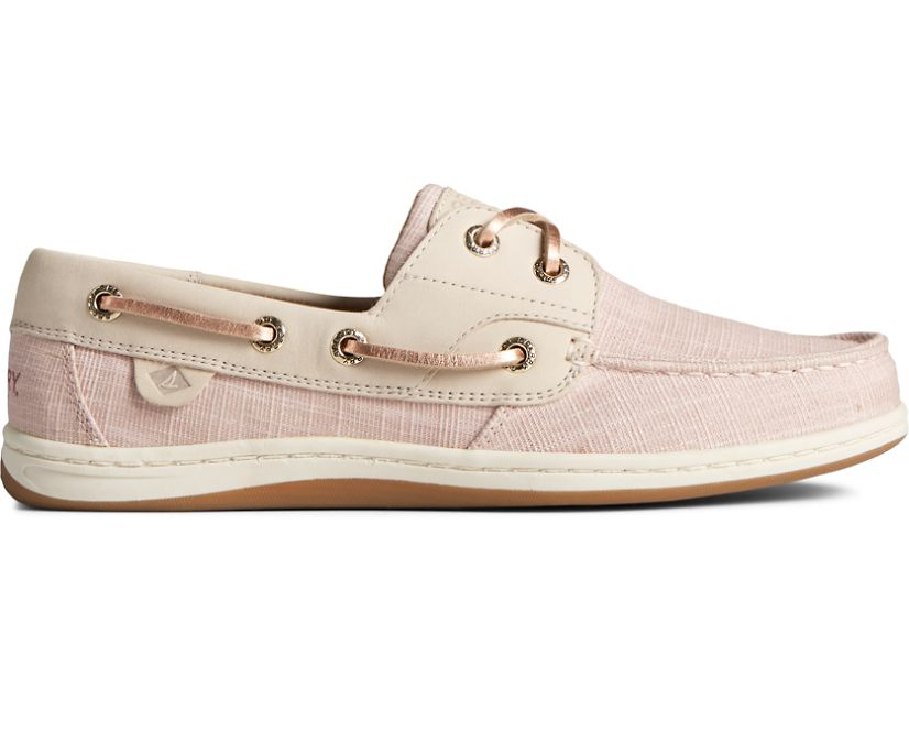 Koifish Sparkle Linen Boat Shoe, Rose, dynamic