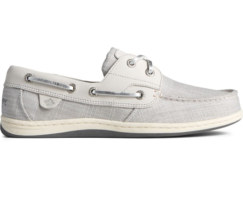 Koifish Sparkle Linen Boat Shoe, Grey, dynamic