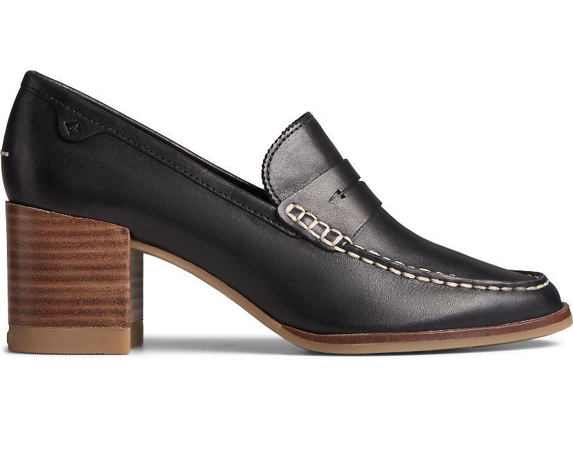 Seaport Penny Heel Leather Loafer, Black, dynamic
