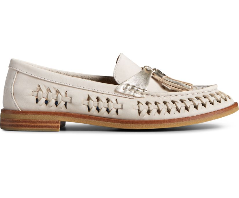 Seaport Penny PLUSHWAVE Woven Leather Loafer, Ivory, dynamic
