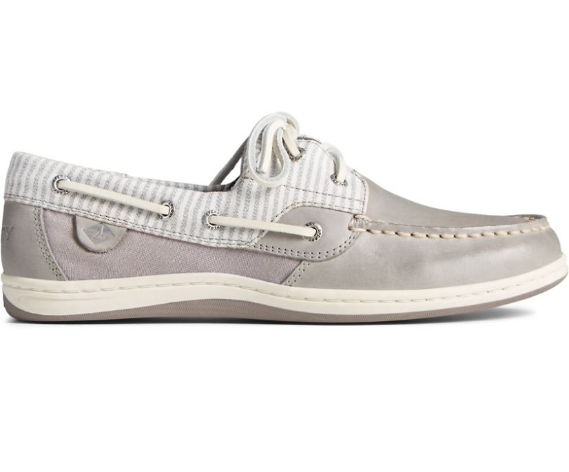 Koifsh Linen Stripe Boat Shoe, Cement, dynamic