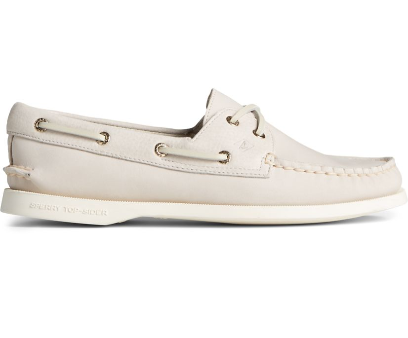 Authentic Original Tonal Leather Boat Shoe, Off White, dynamic