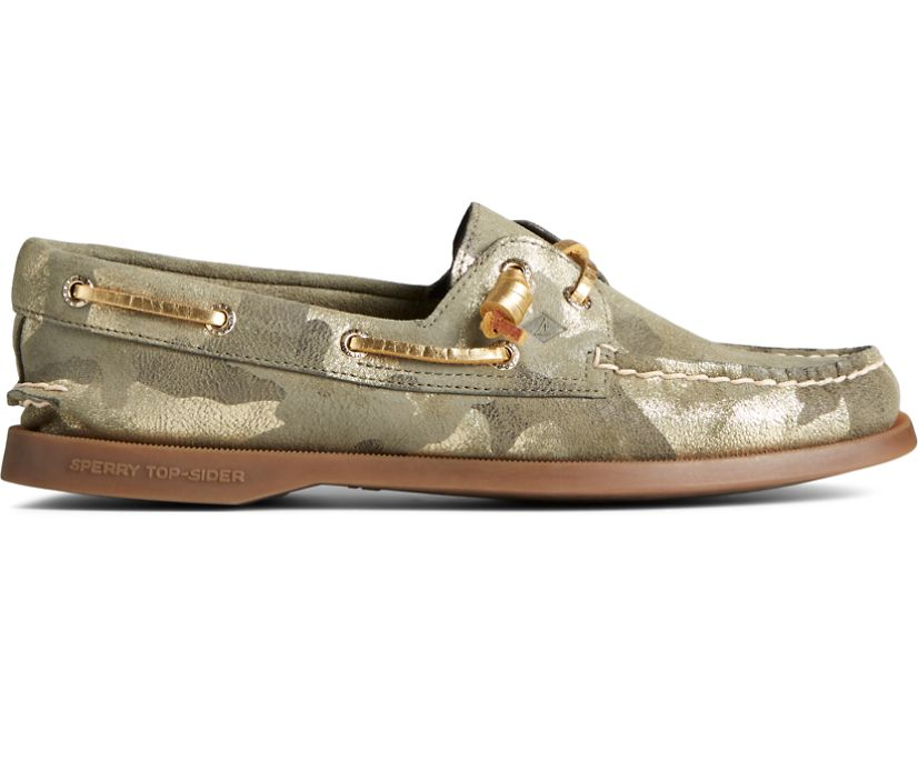 Authentic Original 2-Eye Vida Metallic Camo Boat Shoe, Olive Muti, dynamic