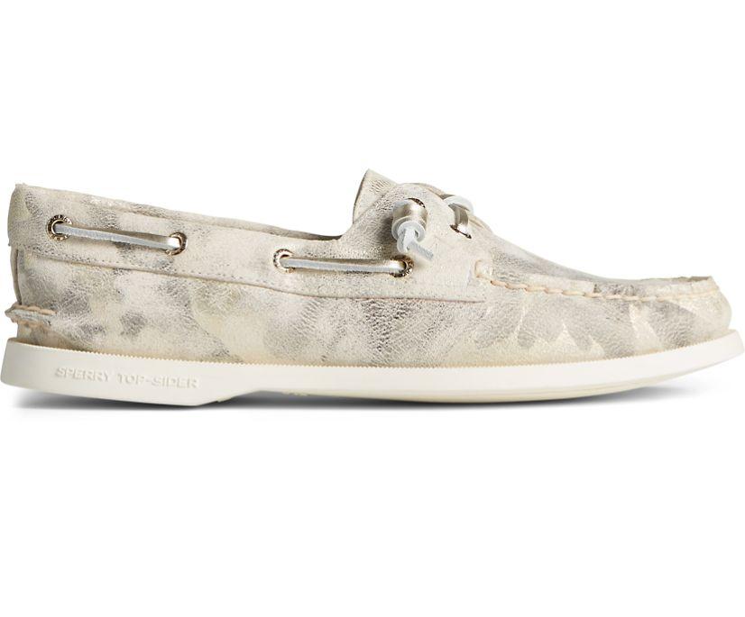 Authentic Original 2-Eye Vida Metallic Camo Boat Shoe, Ivory Multi, dynamic