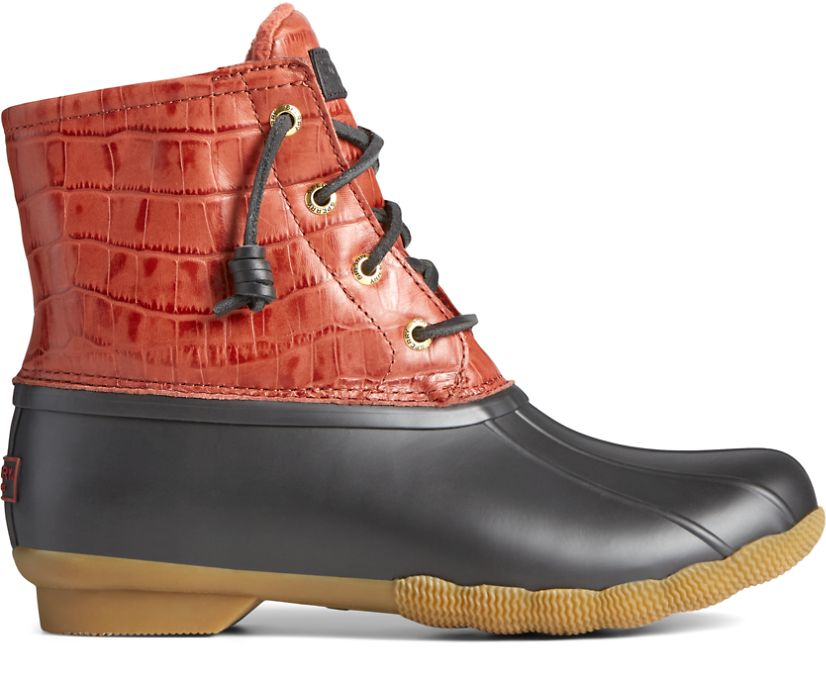 Saltwater Croc Leather Duck Boot, Red, dynamic