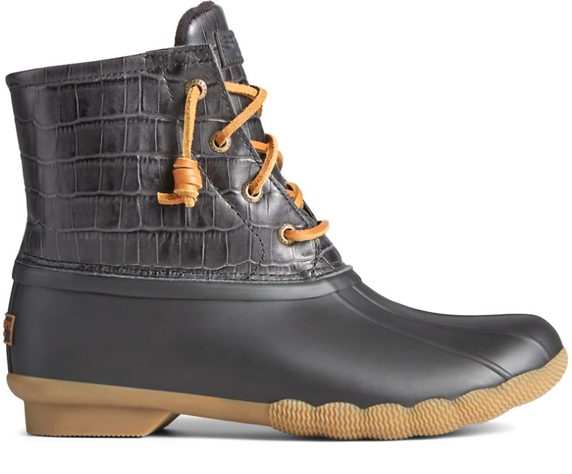 Saltwater Croc Leather Duck Boot, Black, dynamic