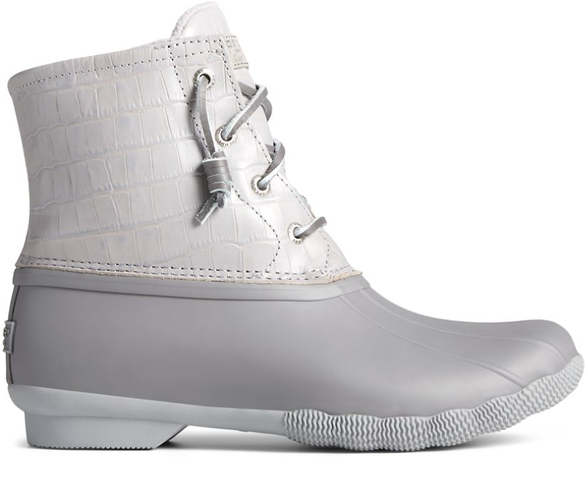 Saltwater Croc Leather Duck Boot, Grey, dynamic