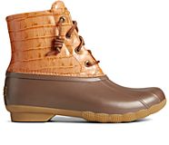 Saltwater Croc Leather Duck Boot, Tan, dynamic