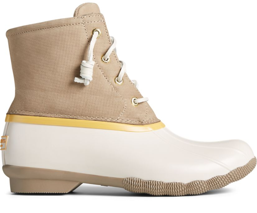 Saltwater Grid Leather Duck Boot, Ivory, dynamic