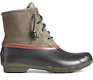 Saltwater Grid Leather Duck Boot, Olive, dynamic