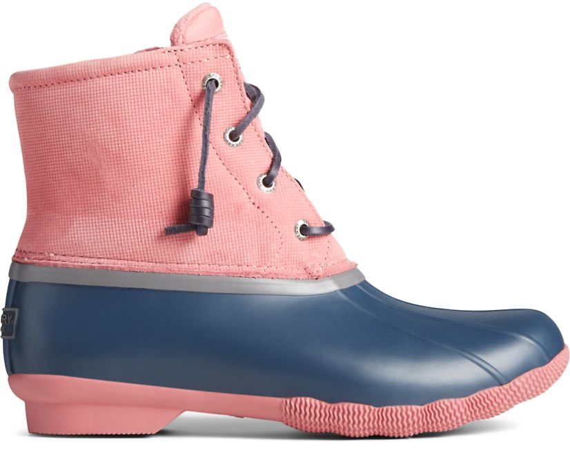 Saltwater Grid Leather Duck Boot, Pink, dynamic