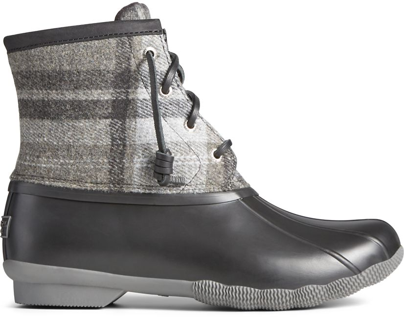 Saltwater Plaid Wool Duck Boot, Charcoal, dynamic