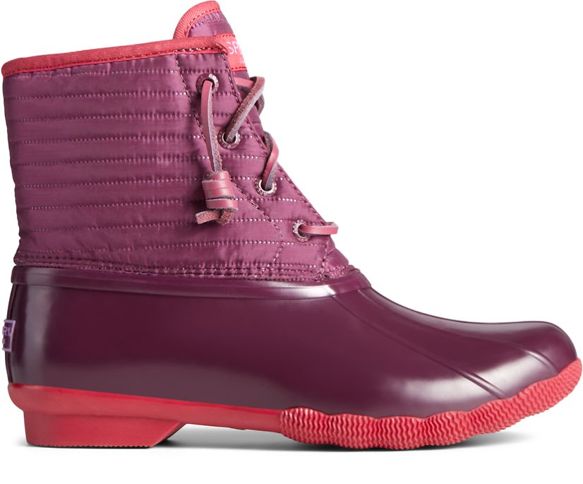 Saltwater Puff Nylon Quilted Duck Boot, Red, dynamic