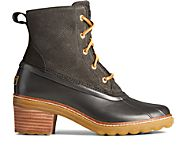 Saltwater Heel Snake Leather Duck Boot, Black, dynamic